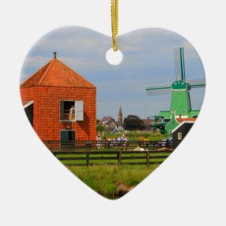 Ornement Cœur En Céramique Village néerlandais de moulin à vent, Hollande 4