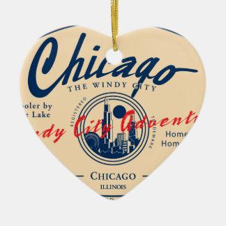 Ornement Cœur En Céramique Ville venteuse de Chicago