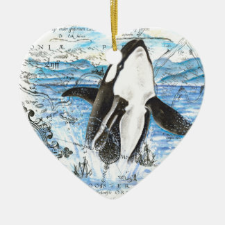 Ornement Cœur En Céramique Violation de la carte antique d'orque
