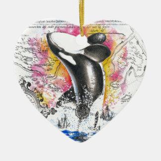 Ornement Cœur En Céramique Violation de l'arc-en-ciel vintage de carte de