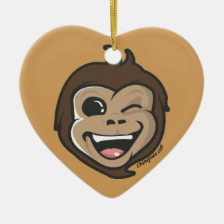 Ornement Cœur En Céramique Visage adorable de singe mignon de Chimpsee