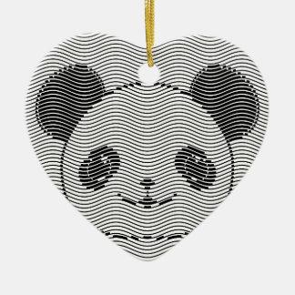 Ornement Cœur En Céramique Visage d'ours panda sur le motif de vague