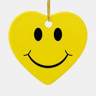 Ornement Cœur En Céramique Visage heureux souriant jaune des années 70