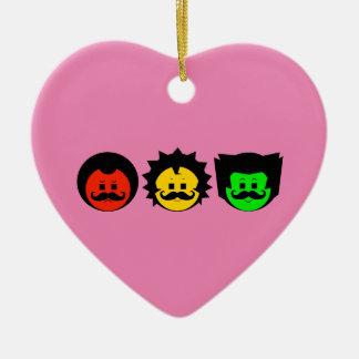 Ornement Cœur En Céramique Visages déprimés de trio de feu d'arrêt avec les