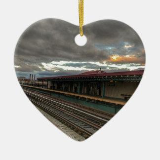 Ornement Cœur En Céramique Voies de NYC