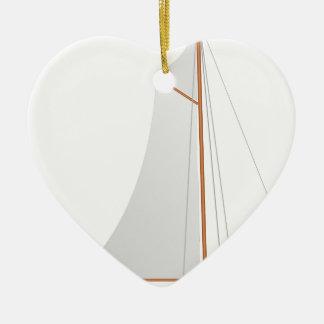 Ornement Cœur En Céramique Voilier