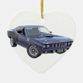 Ornement Cœur En Céramique Voiture 1971 de muscle de bleu marine