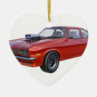 Ornement Cœur En Céramique voiture de muscle des années 70 en rouge