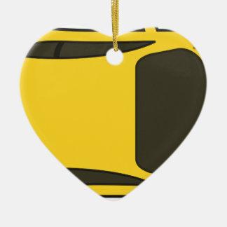 Ornement Cœur En Céramique Voiture de sport jaune