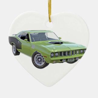 Ornement Cœur En Céramique Voiture verte du muscle 1971