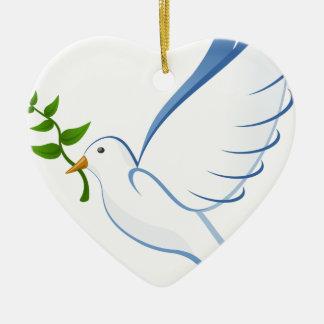 Ornement Cœur En Céramique Vol de colombe de blanc