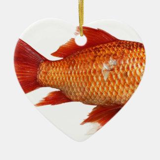 Ornement Cœur En Céramique Vrai poisson rouge