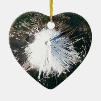 Ornement Cœur En Céramique vue aérienne du mont Fuji
