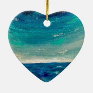 Ornement Cœur En Céramique Vue d'océan