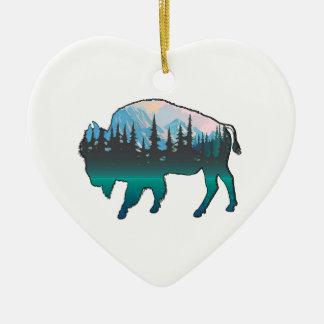 Ornement Cœur En Céramique Yellowstone errant