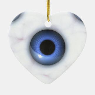 Ornement Cœur En Céramique yeux bleus déplaisants