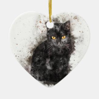 Ornement Cœur En Céramique Yeux de jaune de chat noir