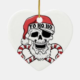 Ornement Cœur En Céramique Yo ho ho - pirate père Noël - le père noël drôle