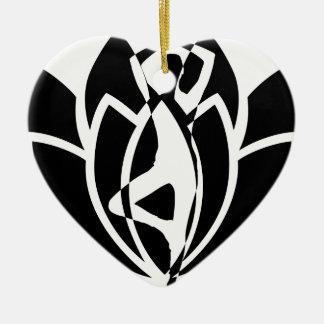 Ornement Cœur En Céramique Yoga Lotus