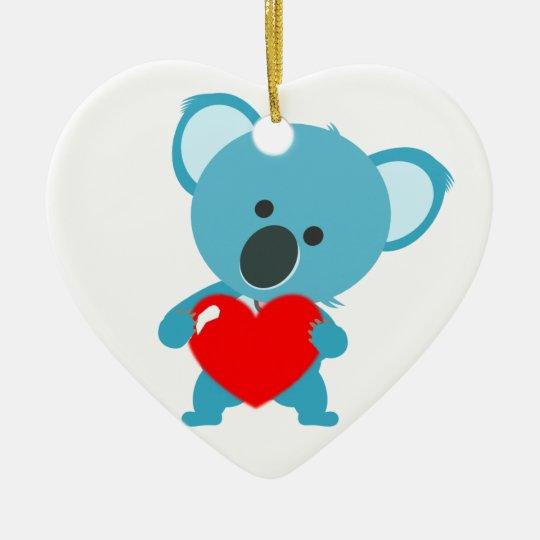 Ornement Coeur motif Koala et son coeur rouge