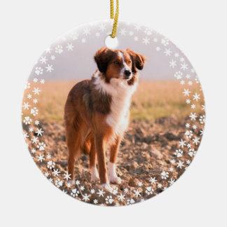 Ornement commémoratif de vacances de Noël d'animal