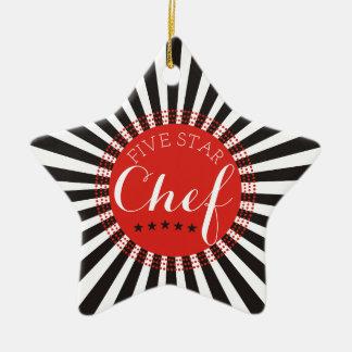 ornement culinaire d'arbre de Noël de chef cinq