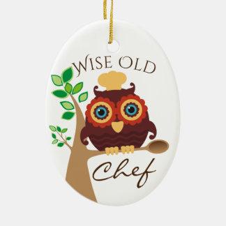 ornement culinaire de Noël de vieux chef sage de