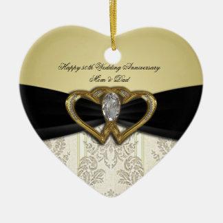 Ornement d'anniversaire de mariage de damassé