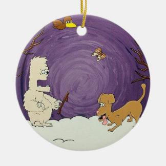 Ornement d'arbre de Noël de yeti et de chien