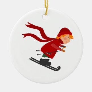 Ornement d'arbre de Noël - ski d'enfant