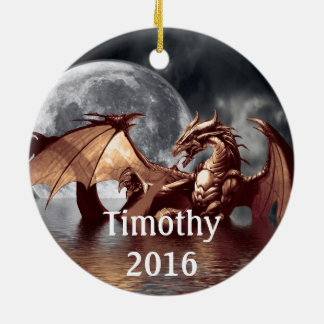 Ornement d'arbre d'imaginaire de lune de dragon