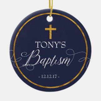 Ornement de baptême de bleu marine