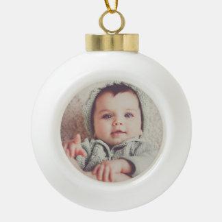 Ornement de boule ronde de photo de bébé