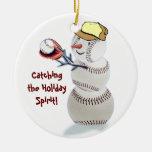 Ornement de cadeaux de Noël de bonhomme de neige