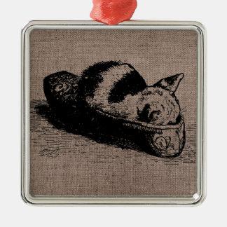 Ornement de carré noir de pantoufle de chaton de