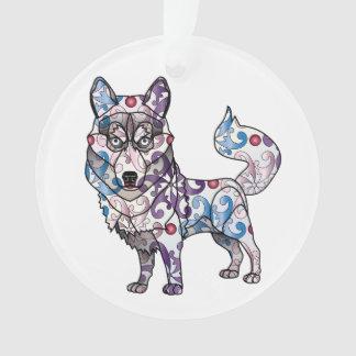Ornement de cercle de chien de traîneau sibérien