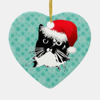 Ornement de chat de Père Noël