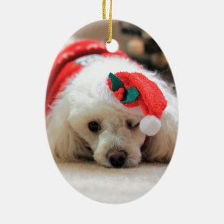 Ornement de chien de caniche de Noël