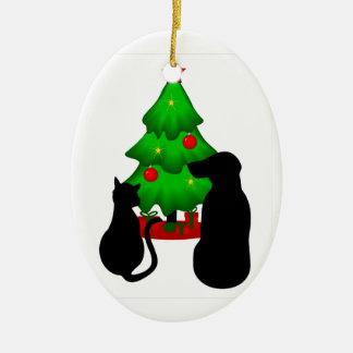 Ornement de chien et de chat de Noël d'animaux