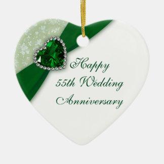 Ornement de coeur d'anniversaire de mariage de