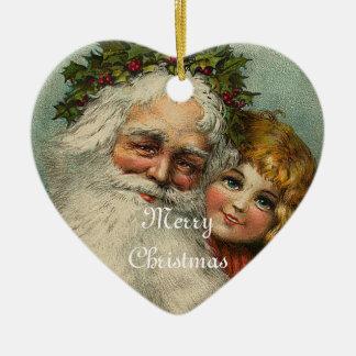 Ornement de coeur de Noël de père du père noël