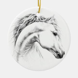 Ornement de dessin au crayon de portrait de cheval