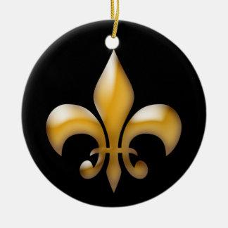 Ornement de Fleur de Lis Christmas en noir et or