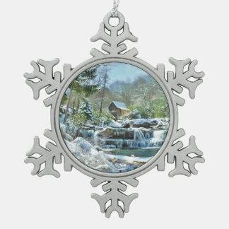 Ornement de flocon de neige avec l'image du moulin