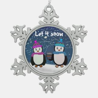 Ornement de flocon de neige d'amis de pingouin