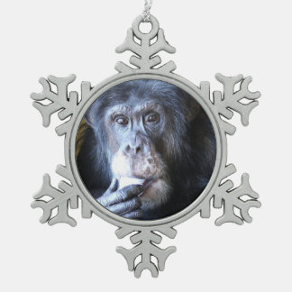 Ornement de flocon de neige de chimpanzé de