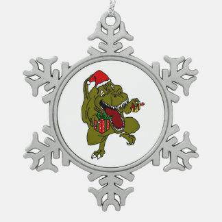 Ornement de flocon de neige de dinosaure de Noël