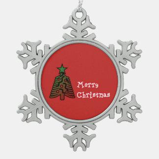Ornement de flocon de neige d'étain de Joyeux Noël