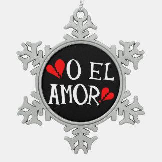Ornement de flocon de neige d'étain d'EL Amor d'O
