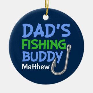 Ornement de garçons d'ami de la pêche du papa